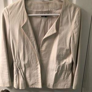 Theory White Leather Jacket